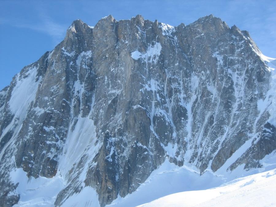 Face nord des grandes Jorasses depuis le glacier du Mont Mallet